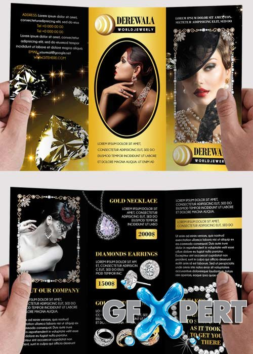 Free Jewelry V Premium TriFold Psd Brochure Template Download