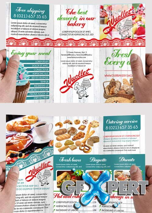 bakery brochure template - free bakery and cupcake premium tri fold psd brochure