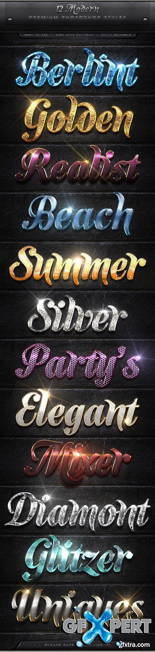 Graphicriver - 12 Modern Text Effect Styles 7974300