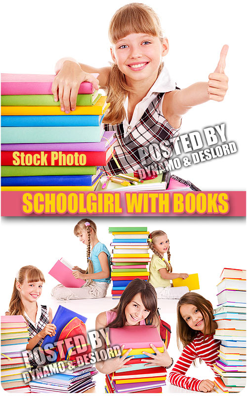 Schoolgirl with books - UHQ Stock Photo