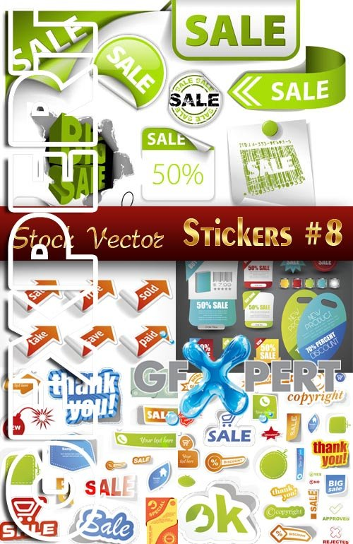 Stickers. SALE #8 - Stock Vector