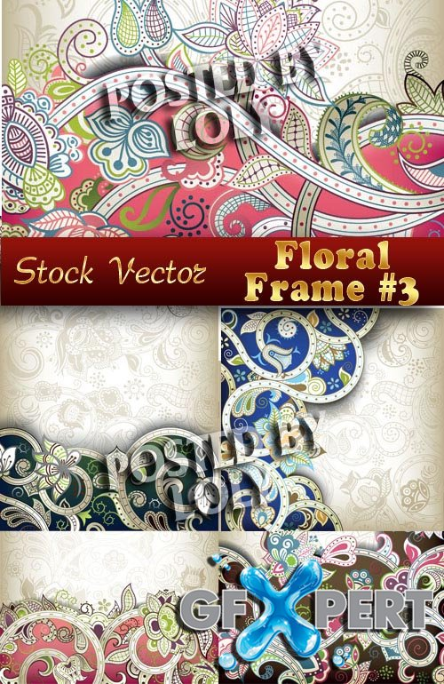 Floral frame #3 - Stock Vector