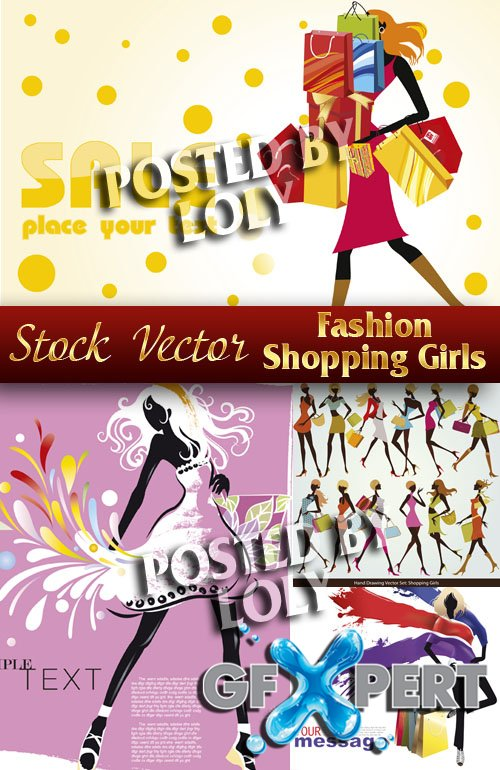 Fashion Shopping girls - Stock Vector