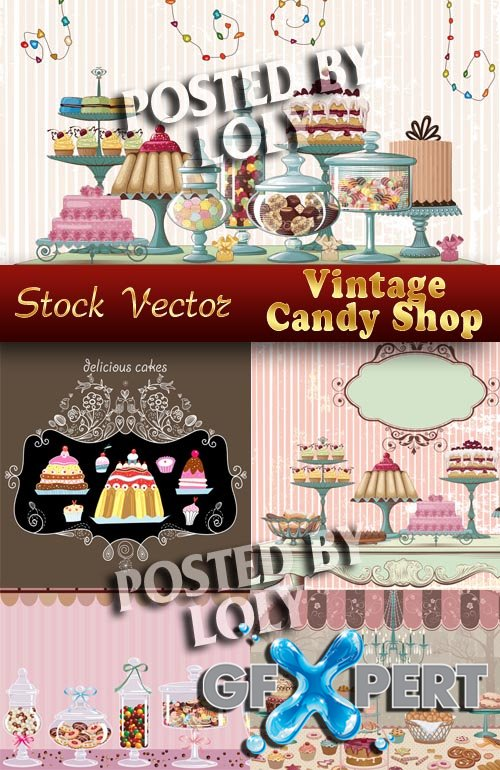 Vintage Candy Shop - Stock Vector