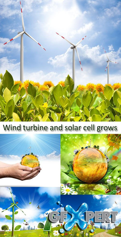 Stock Photo: Wind turbine and solar cell grows
