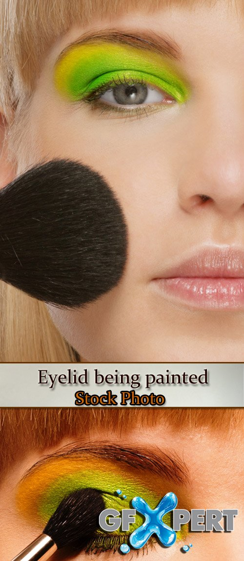 Stock Photo: Eyelid being painted