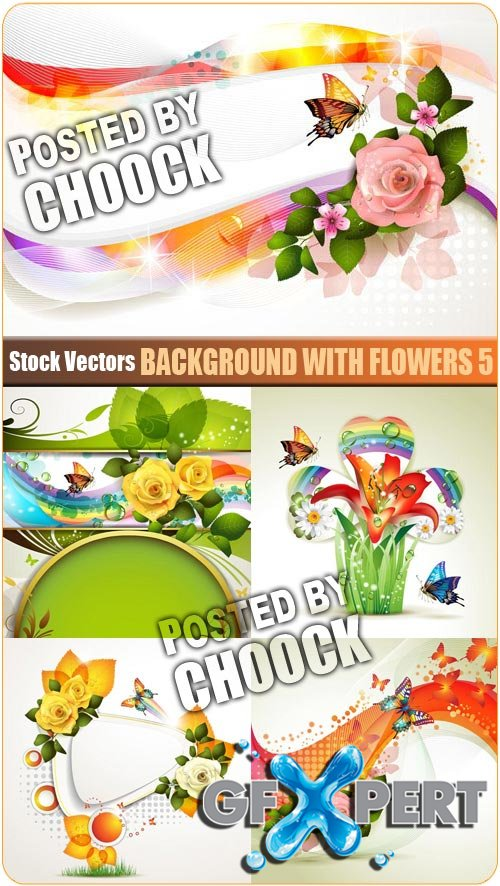 Background with flowers 5 - Stock Vector