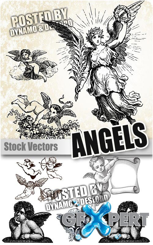 Vintage angels - Stock Vectors