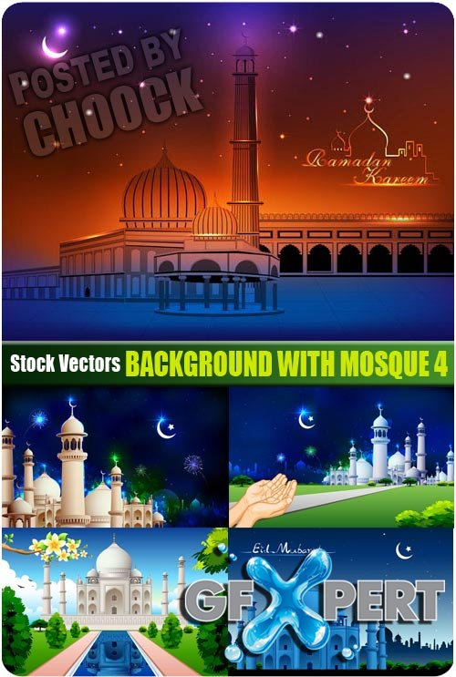 Background with mosque 4 - Stock Vector