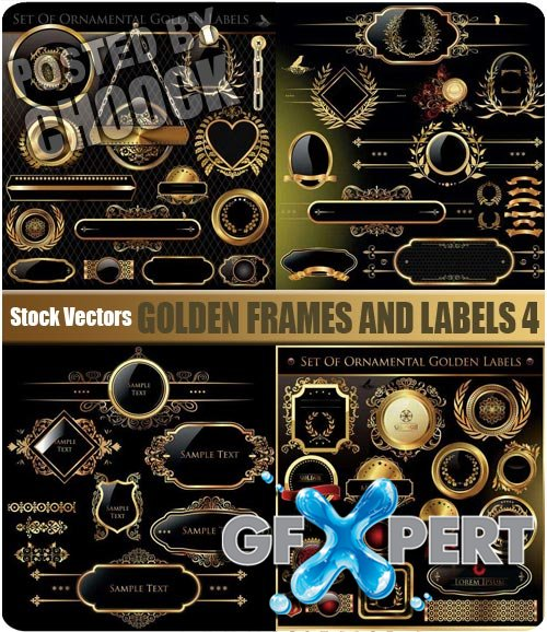 Golden frames and labels 4 - Stock Vector