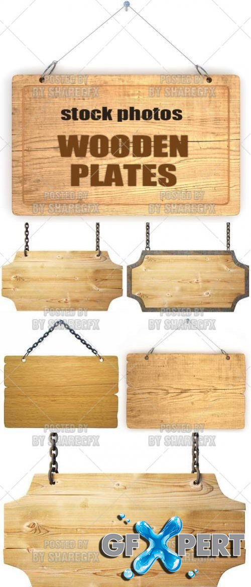 Wooden plates 2 - Stock Photo