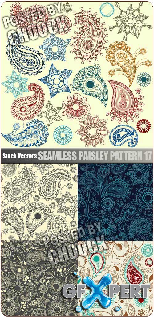 Seamless paisley pattern 17 - Stock Vector