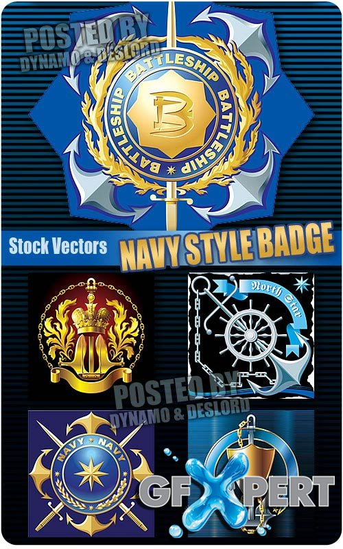 Navy style badge - Stock Vectors