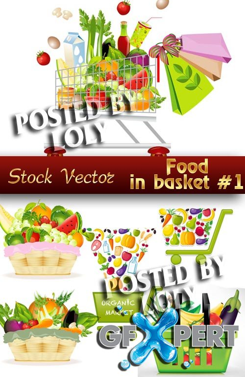 Food in the baskets #1 - Stock Vector