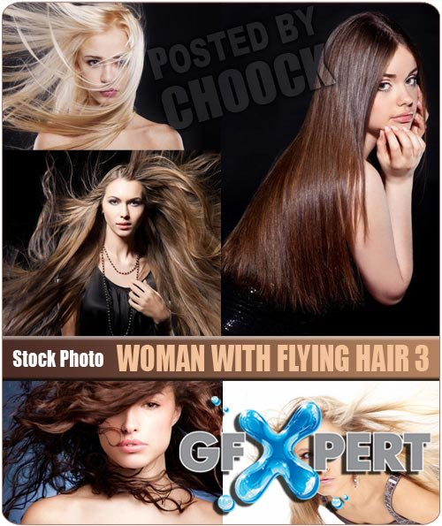 Woman with flying hair 3 - Stock Photo