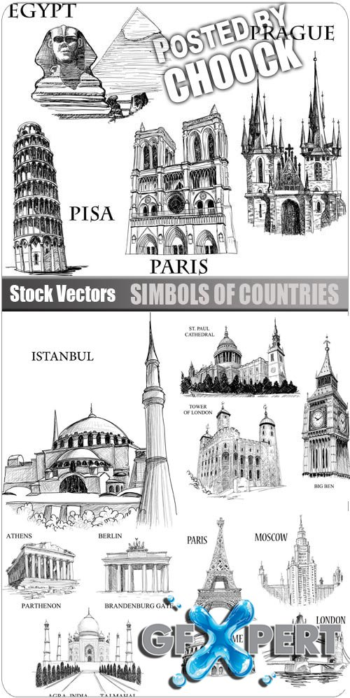Simbols of countries - Stock Vector