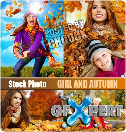 Girl and autumn - Stock Photo