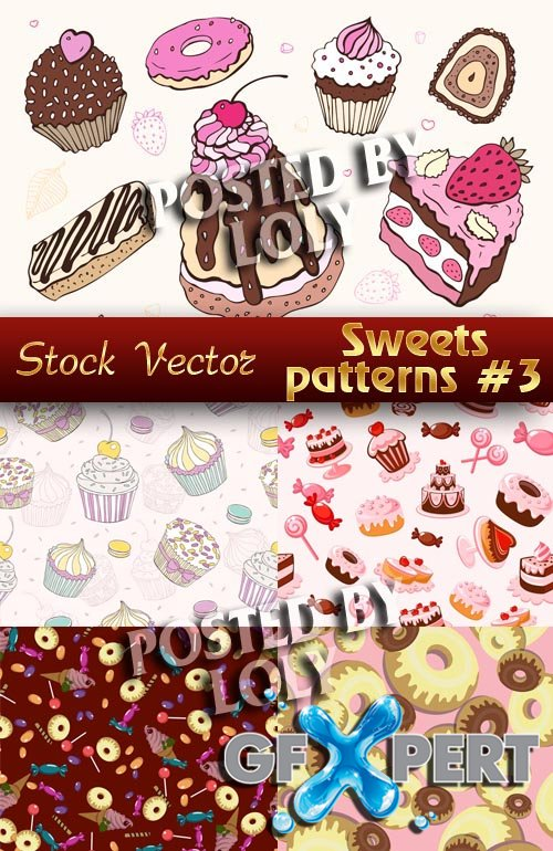Sweets Patterns # 2 - Stock Vector