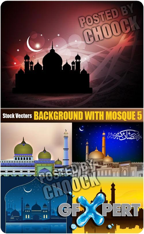 Background with mosque 5 - Stock Vector