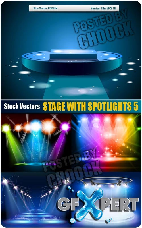 Stage with spotlights 5 - Stock Vector