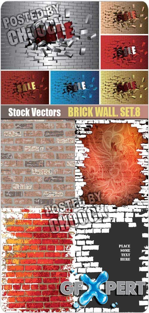 Brick wall. Set.8 - Stock Vector