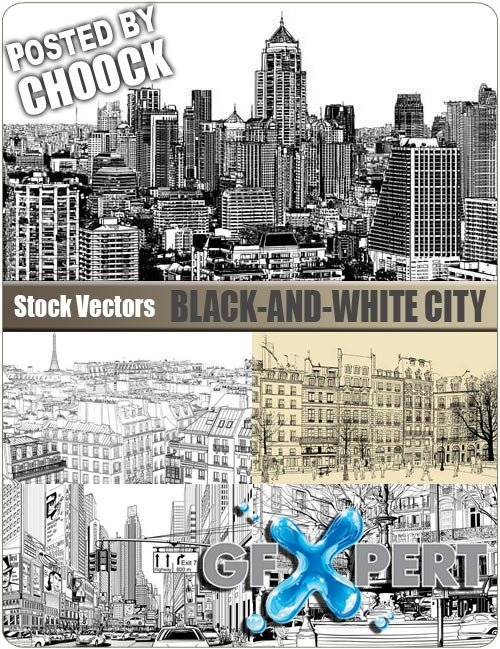 Black-and-white city - Stock Vector