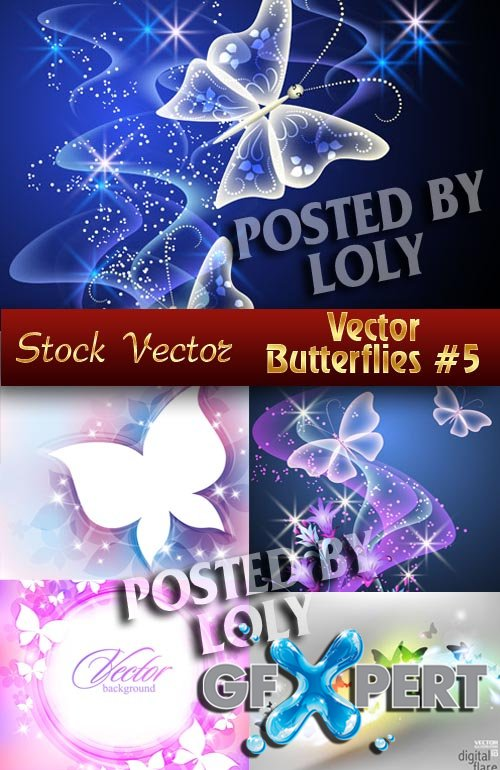 Vector Butterflies #5 - Stock Vector