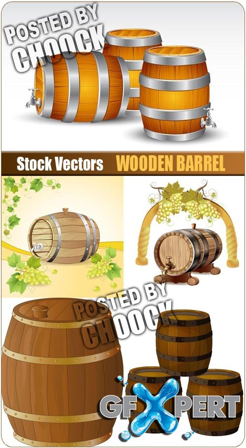 Wooden barrel - Stock Vector