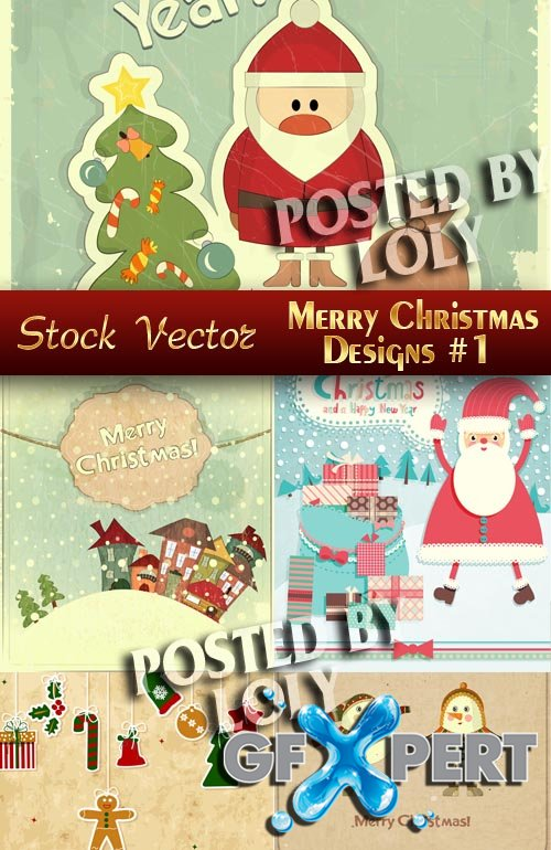 Merry Christmas Designs #1 - Stock Vector