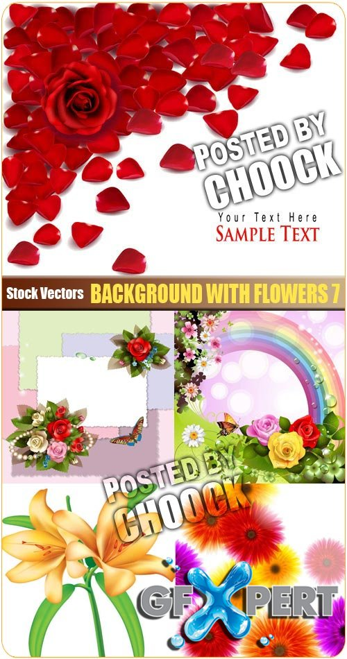 Background with flowers 7 - Stock Vector