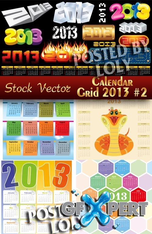 Calendar grid 2013 #2 - Stock Vector