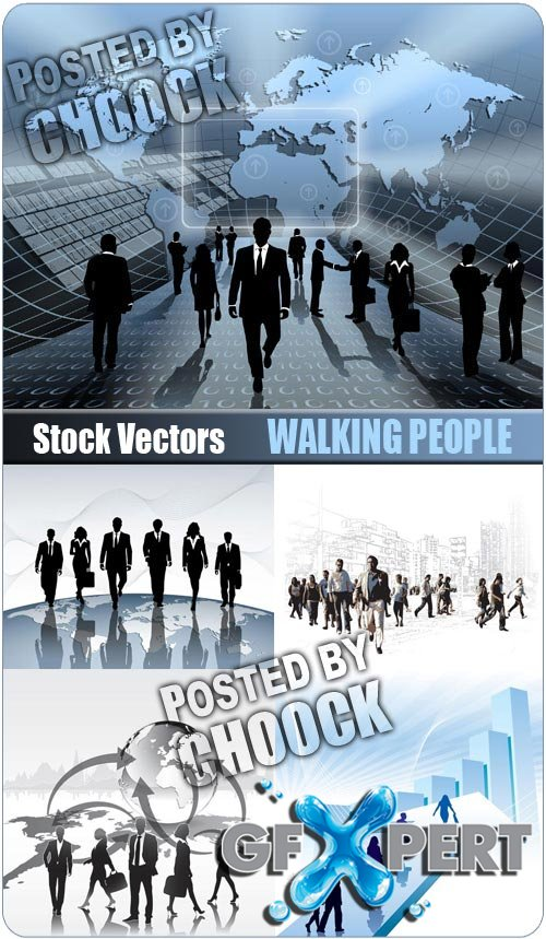 Walking people - Stock Vector
