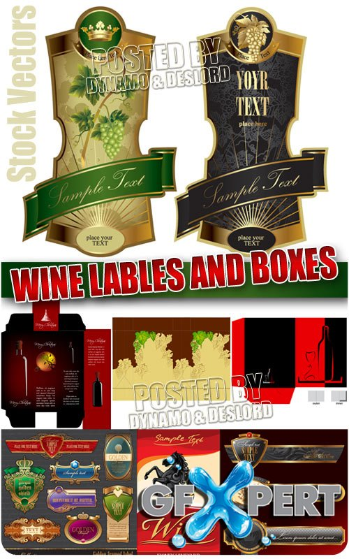 Wine lables and boxes - Stock Vectors