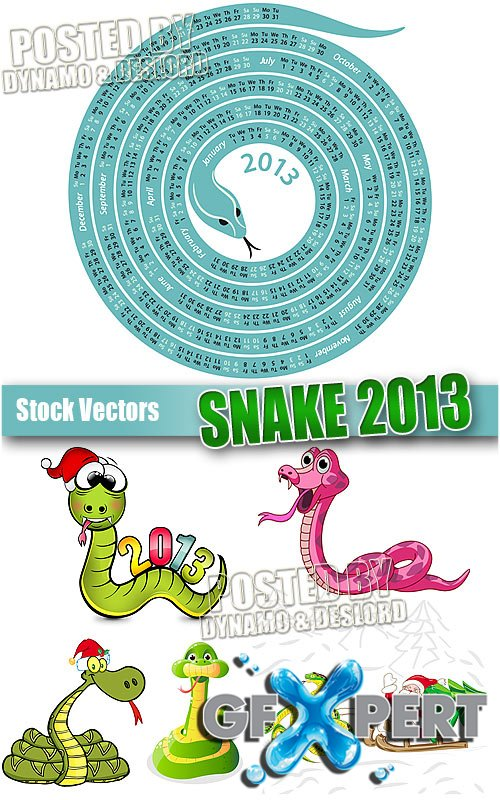 Snake 2013 with calendar - Stock Vectors