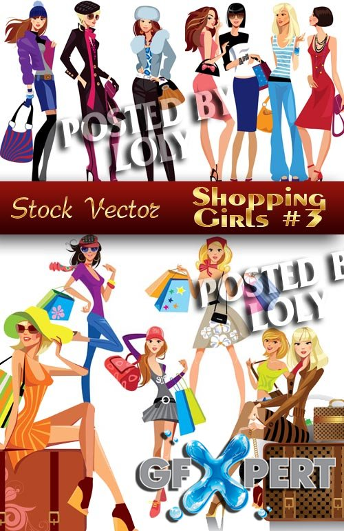 Shopping Girls #3 - Stock Vector
