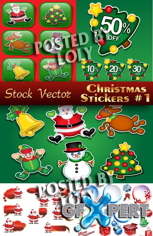 Christmas sticker #1 - Stock Vector