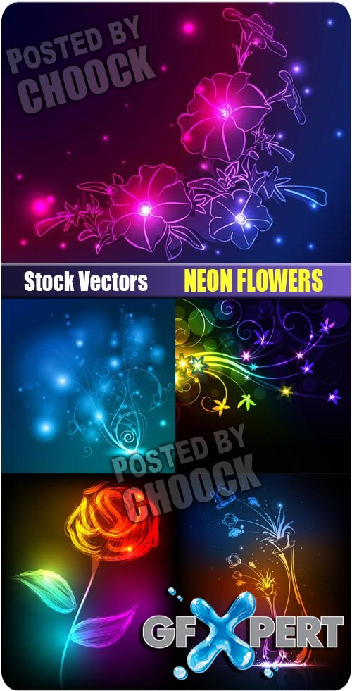 Neon flowers - Stock Vector