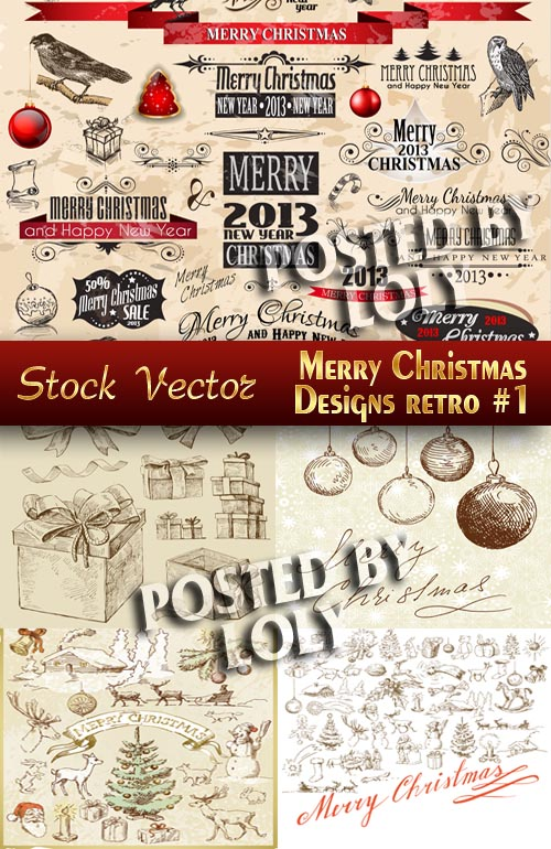 Merry Christmas Designs. Retro #1 - Stock Vector