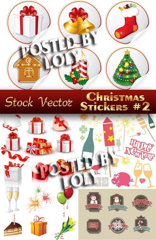 Christmas sticker #2 - Stock Vector