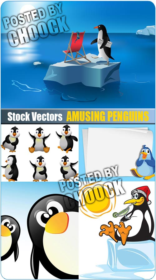 Amusing penguins - Stock Vector