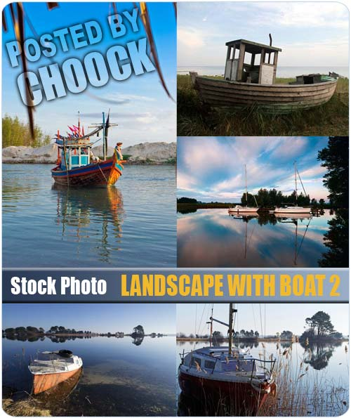 Landscape with boat 2 - Stock Photo