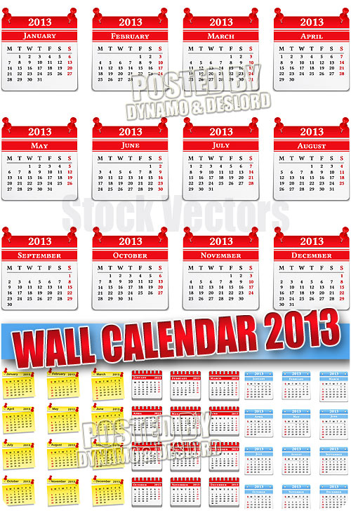 Wall calendar 2013 - Stock Vectors