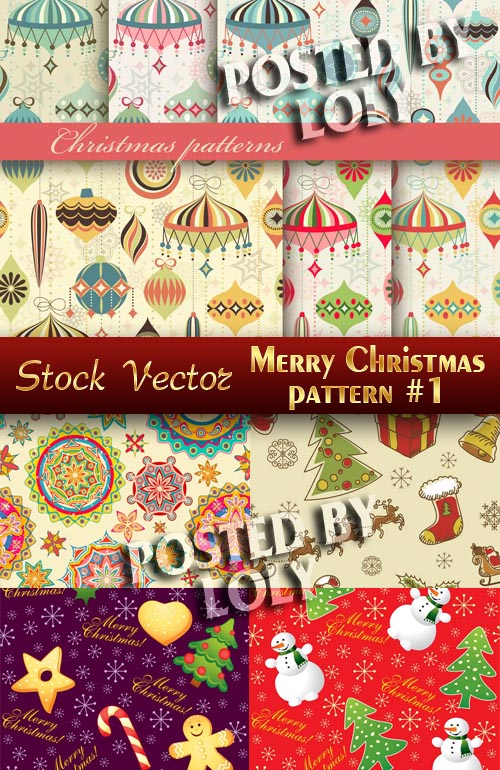 Christmas patterns #1 - Stock Vector