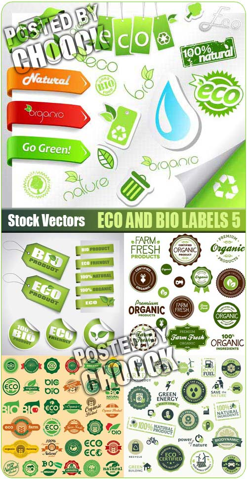 Eco and Bio labels 5 - Stock Vector