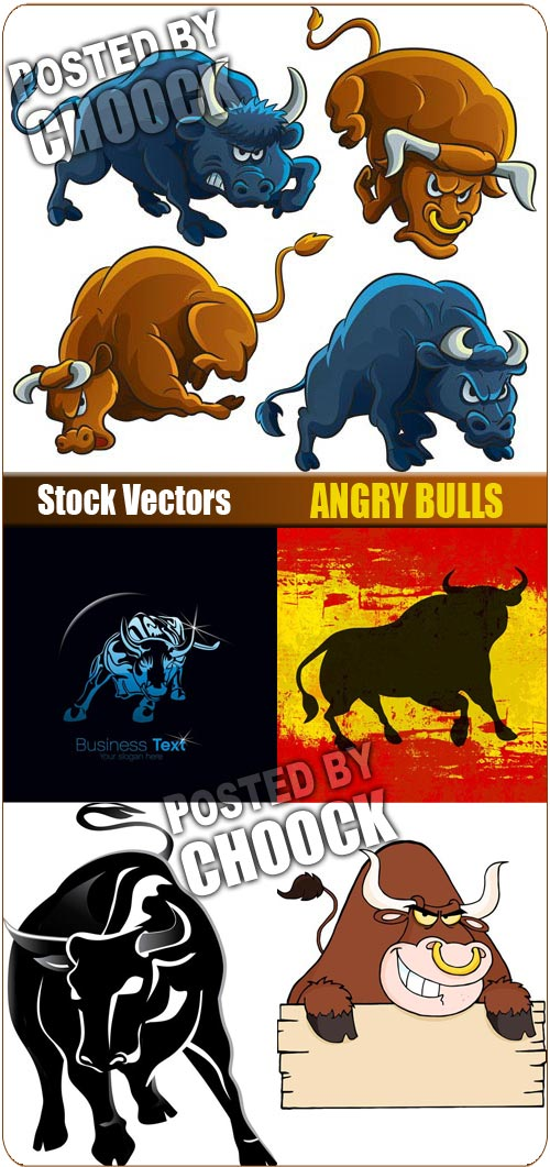 Angry bulls - Stock Vector
