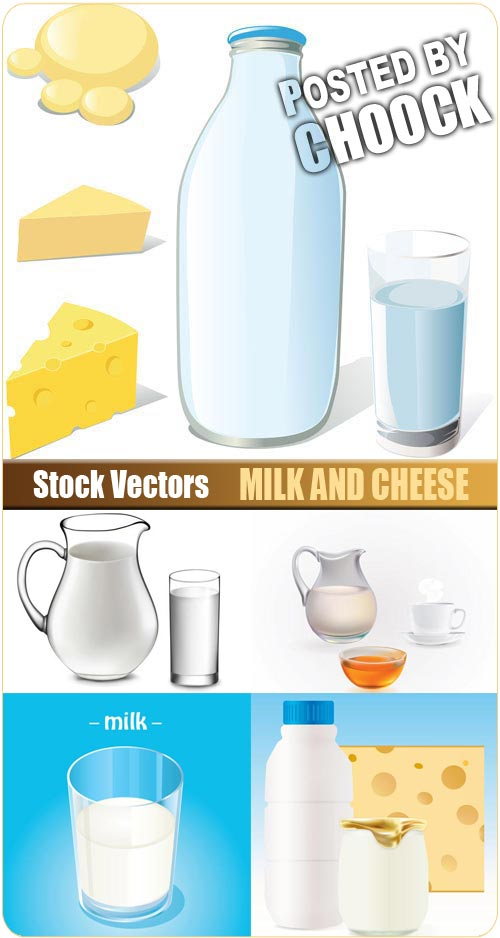Milk and cheese - Stock Vector