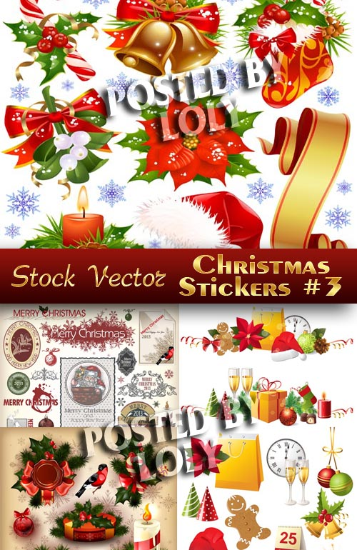 Christmas sticker #3 - Stock Vector