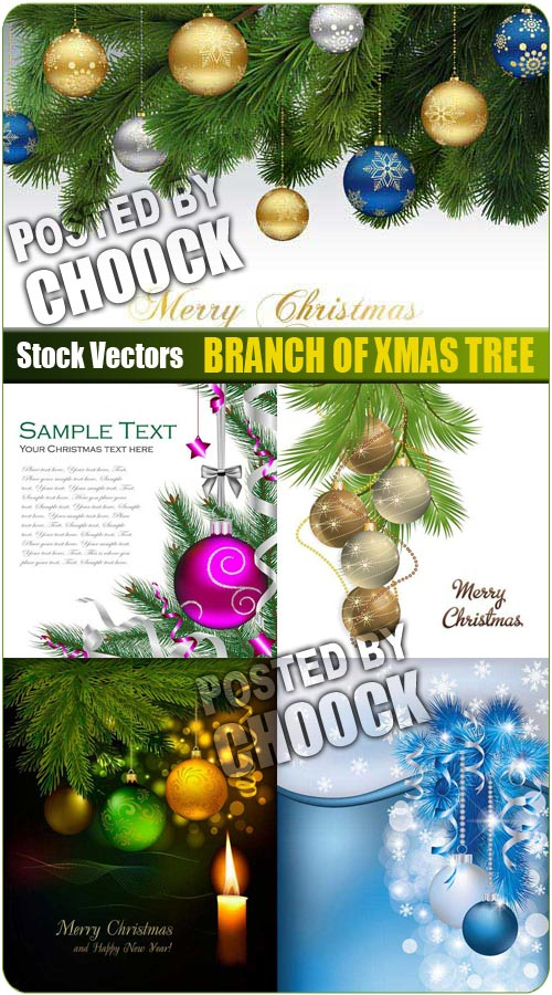 Branch of xmas tree - Stock Vector