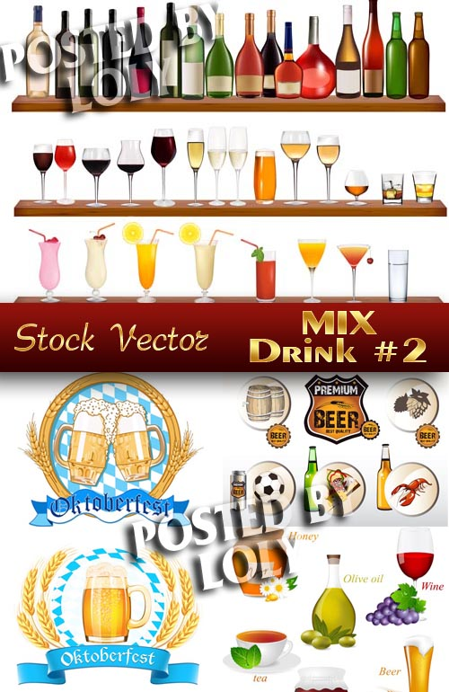 Drinks. MIX #1 - Stock Vector