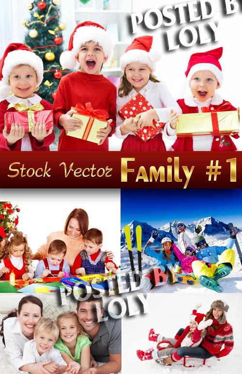 Big family on Christmas Day #1 - Stock Photo